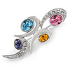 Rhodium Plated Multicoloured CZ Cluster Brooch - 50mm L