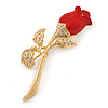 Small Clear Crystal Red Rose Brooch In Gold Plated Metal - 48mm L