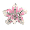 Rhodium Plated White/ Pink Enamel Crystal Lotus Flower Brooch - 35mm W