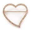 Romantic Rose Gold Tone Clear Crystal Open Heart Brooch - 35mm L