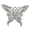 Rhodium Plated Glitter Butterfly Brooch - 43mm W