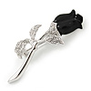 Small Clear Crystal Black Rose Brooch In Rhodium Plated Metal - 48mm L