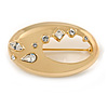 Elegant Crystal Cut Out Crystal Brooch In Polished Gold Plated Metal - 40mm L
