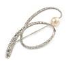 Silver Tone 'Crystal Loop' Stylish Brooch - 60mm L