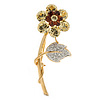 CZ Crystal Daisy Flower Brooch In Gold Plated Metal - 50mm L