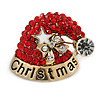 Red/ Clear Christmas Santa Clause Saint St. Nick Hat Brooch In Gold Tone - 30mm L