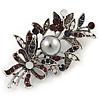 Vintage Inspired Crystal Floral Brooch In Silver Tone Metal - 60mm L