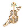 Clear/ AB Crystal Violin Brooch In Gold Tone Metal - 45mm L