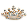Clear Crystal Crown Brooch In Gold Tone Metal - 50mm W