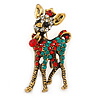 Clear/ Red/ Green Crystal Christmas Reindeer Brooch In Aged Gold Tone Metal - 40mm L