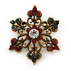 Small Vintage Inspired Red/ Green/ Clear Crystal Christmas Snowflake Brooch In Bronze Tone Metal - 35mm D
