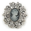 Vintage Inspired Clear Crystal Cameo Brooch In Aged Silver Tone Metal - 50mm L