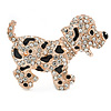 Happy Dalmatian Puppy Dog Brooch In Rose Gold Tone Metal - 55mm