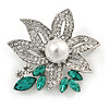 Stunning Clear/ Green Crystal Faux Pearl Flower Brooch In Rhodium Plated Metal - 45mm L