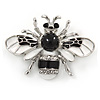 Small White/ Black Enamel Crysal Bee Brooch In Rose Gold Tone - 35mm W