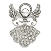 Clear Crystal Angel Brooch In Rhodium Plating - 45mm L