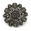Vintage Inspired Grey Coloured Austrian Crystal Floral Brooch In Gun Metal Tone - 43mm D