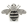 Large Rhodium Plated Clear Crystal with Black Enamel Bee Brooch - 55mm W
