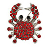 Small Red Crystal Crab Brooch In Silver Tone Metal - 30mm Tall
