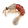 Funky Clear Crystal Red Enamel Prawn/ Shrimp Brooch In Gold Tone - 30mm Across