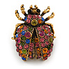 Vintage Inspired Multicoloured Crystal Ladybug Brooch In Antique Gold Tone - 32mm Tall