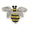 Small Clear/ Black/ Yellow Crystal Bee Brooch In Silver Tone Metal - 35mm Across
