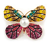 Yellow/ Pink Crystal Butterfly Brooch In Gold Tone Metal - 40mm Across