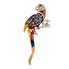 Multicoloured Enamel, Diamante Exotic Parrot Bird Brooch In Gold Plated Metal - 63mm Tall