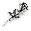 Vintage Inspired Oxidized Rose Brooch/ Pendant In Silver Tone - 73mm L