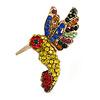 Small Multicoloured Crystal Hummingbird Brooch In Gold Tone - 40mm Tall