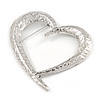 Large Ethnic Hammered Open Heart Brooch In Silver Tone Metal - 90mm Across