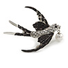 Stunning Black/ Clear Crystal Swallow/ Swift Brooch In Silver Tone - 50mm Across