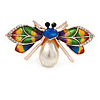 Funky Multi Enamel, Crystal, Pearl Bug Brooch In Rose Gold Metal - 45mm Across