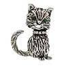 Small Vintage Inspired Kitten Brooch In Antique Silver Tone Metal - 32mm Tall