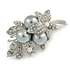 Stunning Grey Pearl, Milky White Crystal Floral Brooch In Silver Tone - 55mm Across