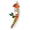 Mutlicoloured Enamel, Crystal Parrot Bird Brooch In Gold Tone Metal - 70mm Tall