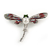 Red/ Grey Enamel Clear Crystal, Faux Pearl Dragonfly Brooch In Silver Tone Metal - 50mm Across