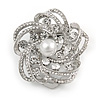 Diamante Faux Pearl Flower Scarf Pin/ Brooch In Silver Tone - 35mm D