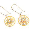 Gold Web Circle Earrings