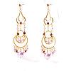Pink Swinging Imitation Pearl Chandelier Earrings