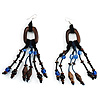 Long Wooden Blue Glass Bead Dangle Earrings