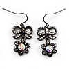 Crystal Bow Daisy Drop Earrings (Black &amp; Clear)