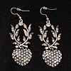 Antique Silver Heart Crystal Drop Fashion Earrings