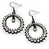 Black Tone Clear Crystal Hoop Earrings