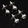 Silver Tone Clear Stud Earring Set