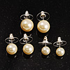 Set of 3 Ivory Faux Pearl Stud Earrings (14mm, 12mm,10mm)