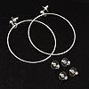 Hoop, Cubic Zirconia & Star Stud Earring Set (Silver)