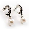 Antique Silver Twisted Faux Pearl Hoop Earrings