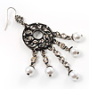 Marcasite Ornate Faux Pearl Chandelier Earrings (Antique Silver Tone) - 9cm Length