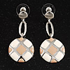 Round Checked Enamel Drop Earrings (White&Beige)